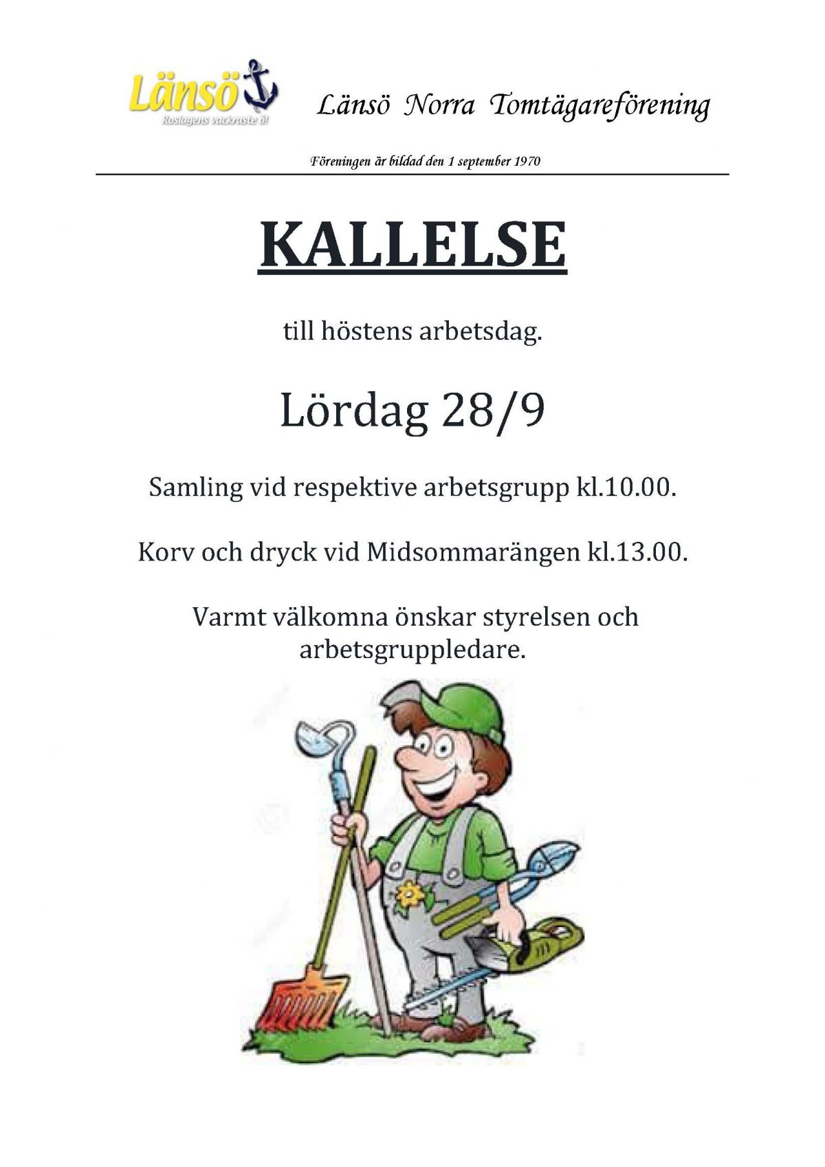 Höstens arbetsdag Norra Länsö 28/9